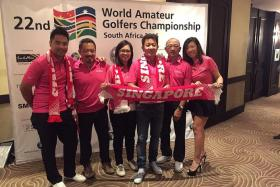 TEAM SINGAPORE: From far left, golfers Erwyn Lam, Melvin Choo, Clara Ang, Colin Tan, Lee Kian and team captain Jacqueline Wu will represent Singapore at the World Amateur Golfers Championship in Durban, South Africa.