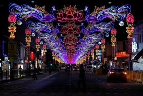 Little India bathed in colourful lights for Deepavali.