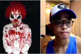 VIRAL: Mr Joel Wong dressed up as a clown in a photo (left) he uploaded last Wednesday on Instagram.