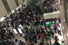 STUCK: The scene at one of the Circle Line stations.