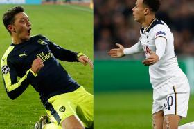 KEY MEN: Arsenal's Mesut Oezil (left) and Tottenham's Dele Alli (right) are at opposite ends of the performance spectrum.