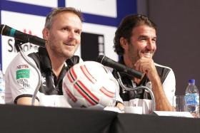"""""""I don't know how often David has had the pleasure of playing Germany."""" - Ex-Germany international Dietmar Hamann (left, with Karl-Heinz Riedle)"""