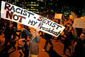 ANGER: Demonstrators protest the election of President elect Donald Trump in Denver, Colorado.