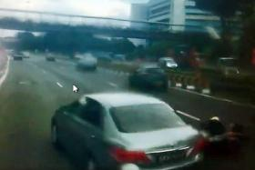 DANGEROUS: Screengrabs from video footage of the incident, which helped police nab the suspected car driver who had hit a motorcyclist along the AYE in June.