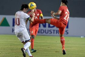 The move by Hafiz Sujad (right) which resulted in him being given a red card.