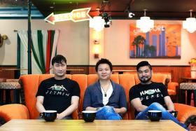 ICONIC: (Top, from left) Mr Lim Jit Min, Mr Joseph Endi and Mr Derek Ong opened Central Perk at Central Mall.