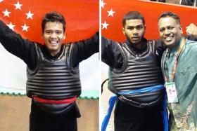 Shakir Juanda (left) and Sheik Farhan (right) and both won their respective weight class finals at the World Pencak Silat Championships in Bali.