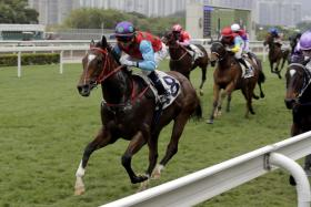 Jockey Douglas Whyte steers Healthy Luck home for his Sha Tin double on Saturday.