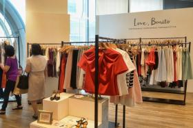 Local online store Love, Bonito, seen here at its previous pop-up store at Orchard Gateway in March, has been using physical boutiques to boost its brand presence.