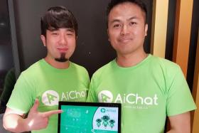 Co-founders of AiChat, Mr Matthew Low (left) and Mr Kester Poh.
