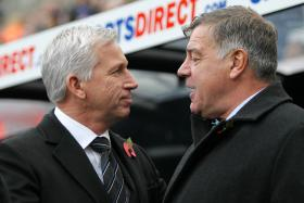 Alan Pardew (left) and Sam Allardyce back in 2012 when they were managers at Newcastle and West Ham respectively