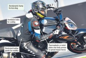 Leather suits protect you in a crash.
