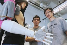 Ngee Ann Polytechnic students invent mind-controlled prosthetic arm.