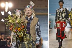 Vivienne Westwood (above left) on the final day of the event, which featured colourful and bold clothes (above right).