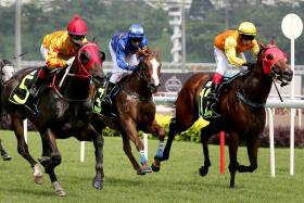 Sun Mirage races past front-runner Changbai Mountain (inside) for his second victory from 10 starts. Third is Lim's Racer (centre).