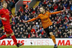 Wolverhampton Wanderers' Andreas Weimann celebrates scoring their second goal in the shock 2-1 FA Cup win over Liverpool at Anfield