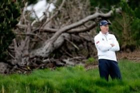 Jim Furyk plays during a practice round for the AT&T Pebble Beach National Pro-Am at Spyglass Hill Golf Course