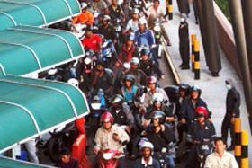 Bikers stuck in queue for three hours