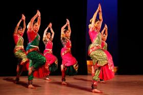 Bharatanatyam students from SIFAS performing at Republic Polytechnic's Academy Day 2016