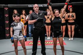 ONE Championship atomweight world champion Angela Lee (right) will face Brazil's Istela Nunes in her second title defence on May 26 at the Singapore Indoor Stadium