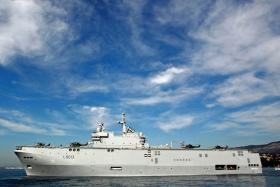 "French landing helicopter ship ""Mistral"" sails off the Naval Base in Toulon"