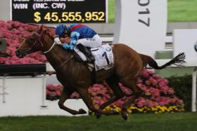 Rapper Dragon (Joao Moreira astride) wins the BMW Hong Kong Derby yesterday to create history with a Four-Year-Old Classic Series clean sweep.