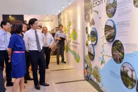 Minister for National Development Lawrence Wong and URA's Ms Tan Siok Keng touring the A River Runs Through It exhibition after the launch.