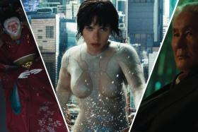 Scarlett Johansson and Takeshi Kitano in Ghost In The Shell