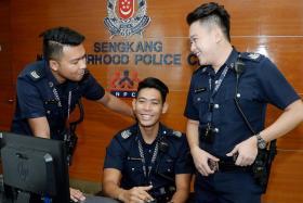 (From left) Sergeant Mohamad Adam Roslan, Senior Staff Sergeant Mohamad Azhar Abdul Aziz and Staff Sergeant Joshua Kwek.