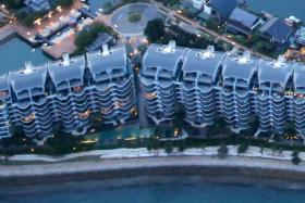 An aerial view of Seascape @ Sentosa Cove.