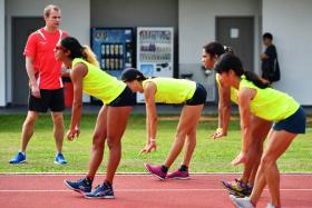 Singapore Athletics team training under Singapore Athletics' new technical director Volker Herrmann, his first day of work at Kallang Practice Track (Home of the Athletics) on Apr 01, 2017