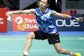 Taiwan's women's singles world No. 1 Tai Tzu-ying (above) beat Singapore's Zhang Beiwen 21-19, 21-15 in the OUE Singapore Open semi-final to set up a title match with Carolina Marin at the Indoor Stadium on Sunday