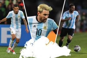 Angel di Maria, Lionel Messi, Gonzalo Higuain