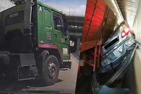 Footage taken from Eddie Wong's dash cam seconds before a trailer collided with his car. Left, the aftermath