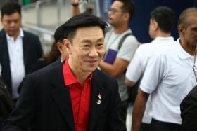Bill Ng at the Football Association of Singapore elections at the Black Box Auditorium at the National Stadium