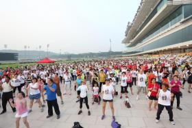 A community mass walk event held at the Singapore Racecourse at Kranji.