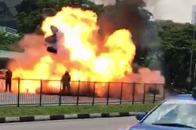 Four including SCDF officer injured after taxi explodes