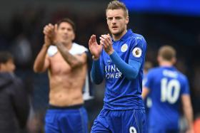 Leicester City's striker Jamie Vardy applauds supporters after the match with West Bromwich Albion