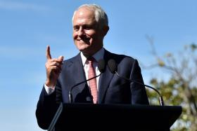File photo taken on April 22, 2017 shows Australia's Prime Minister Malcolm Turnbull speaking at a joint press conference with US Vice President Mike Pence at the Kirribilli House in Sydney