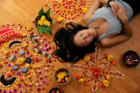 Kathy Gabriel runs classes on creating flower mandalas