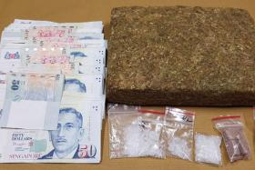 Cannabis, 'Ice' and heroin seized in CNB operation on May 12, 2017.