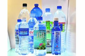 Bottled water from various brands.