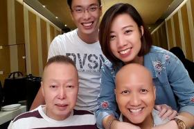 Ms Eileen Cheong (top right) with her parents (in the foreground) during happier times. Her father, Mr Jimi Cheong, suffered a cardiac arrest while on holiday in Tokyo but died shortly after arriving home on May 2.