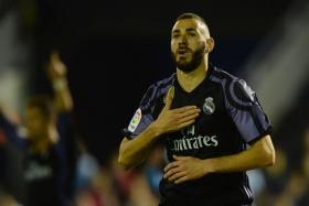Karim Benzema after scoring against RC Celta de Vigo on May 17