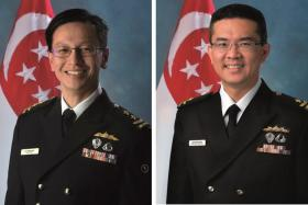 Rear-Admiral Lew Chuen Hong (right) will be Singapore's new navy chief from June 16, taking over from RADM Lai Chung Han (left).