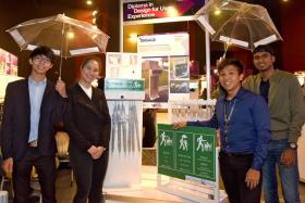 Don Chua, Chan Min Yi, Wayne Lim and Kishan Kumar Karunamuthi, started an umbrella-sharing initiative in partnership with the Land Transport Authority, called Sharella, for their final-year project.