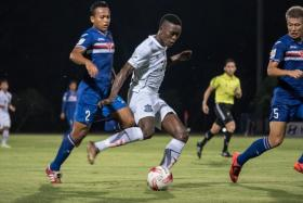 Esoh Omogba of Boeung Ket FC drew first blood for the Cambodian side in the RHB Singapore Cup clash against Warriors FC