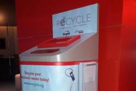 A ReCYCLE bin for e-waste.