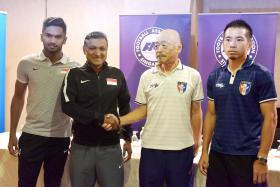 (From left) Singapore midfielder Hariss Harun, Singapore national coach V Sundramoorthy, Taiwan coach Kazuo Kuroda and Taiwanese midfielder Chen Yi-wei at the pre-match press conference at Amara Hotel yesterday.