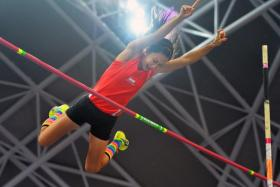 File photo of Singapore national pole vaulter Rachel Yang in action during the 2015 SEA Games.